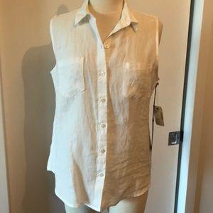 NWT Saks Fifth Avenue White Linen Sleeveless Top
